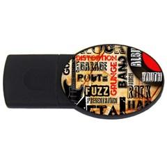 Guitar Typography USB Flash Drive Oval (4 GB)