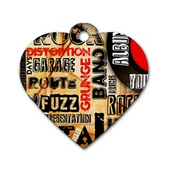 Guitar Typography Dog Tag Heart (Two Sides)