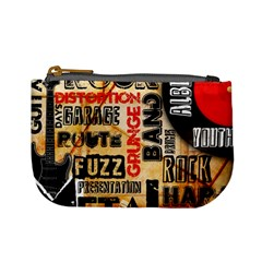 Guitar Typography Mini Coin Purses