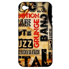 Guitar Typography Apple iPhone 4/4S Hardshell Case (PC+Silicone)