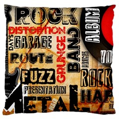 Guitar Typography Large Flano Cushion Case (two Sides)