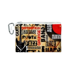 Guitar Typography Canvas Cosmetic Bag (S)