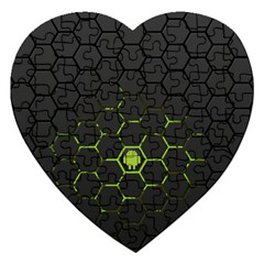 Green Android Honeycomb Gree Jigsaw Puzzle (Heart)