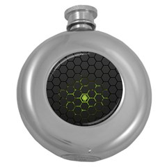 Green Android Honeycomb Gree Round Hip Flask (5 oz)