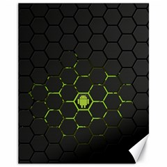 Green Android Honeycomb Gree Canvas 11  x 14