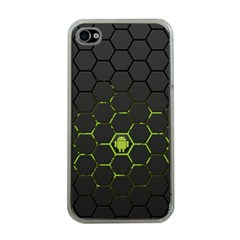 Green Android Honeycomb Gree Apple iPhone 4 Case (Clear)