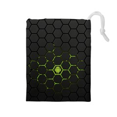 Green Android Honeycomb Gree Drawstring Pouches (large)