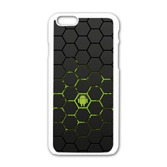 Green Android Honeycomb Gree Apple iPhone 6/6S White Enamel Case