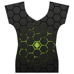 Green Android Honeycomb Gree Women s V-Neck Cap Sleeve Top