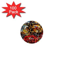 Flower Art Traditional 1  Mini Buttons (100 pack)