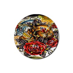 Flower Art Traditional Rubber Round Coaster (4 pack)