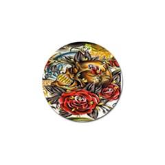 Flower Art Traditional Golf Ball Marker