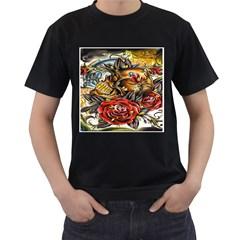 Flower Art Traditional Men s T-Shirt (Black) (Two Sided)