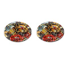 Flower Art Traditional Cufflinks (oval)