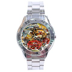Flower Art Traditional Stainless Steel Analogue Watch