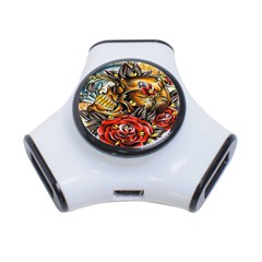 Flower Art Traditional 3 Port Usb Hub