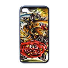 Flower Art Traditional Apple iPhone 4 Case (Black)
