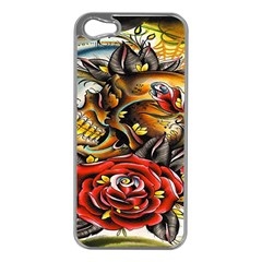 Flower Art Traditional Apple iPhone 5 Case (Silver)