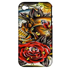 Flower Art Traditional Apple iPhone 4/4S Hardshell Case (PC+Silicone)