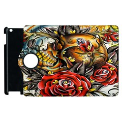 Flower Art Traditional Apple iPad 2 Flip 360 Case