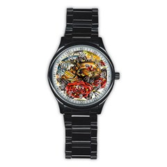 Flower Art Traditional Stainless Steel Round Watch