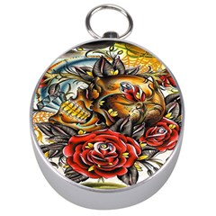 Flower Art Traditional Silver Compasses