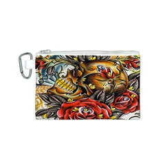 Flower Art Traditional Canvas Cosmetic Bag (S)