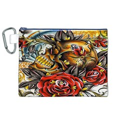 Flower Art Traditional Canvas Cosmetic Bag (XL)
