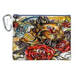 Flower Art Traditional Canvas Cosmetic Bag (XXL)