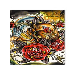 Flower Art Traditional Small Satin Scarf (Square)