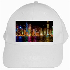 Light Water Cityscapes Night Multicolor Hong Kong Nightlights White Cap