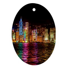 Light Water Cityscapes Night Multicolor Hong Kong Nightlights Ornament (Oval)