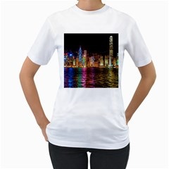 Light Water Cityscapes Night Multicolor Hong Kong Nightlights Women s T Shirt (white) (two Sided)