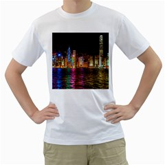 Light Water Cityscapes Night Multicolor Hong Kong Nightlights Men s T Shirt (white) (two Sided)