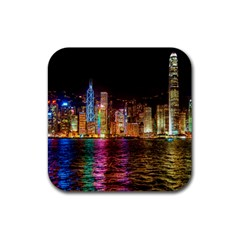 Light Water Cityscapes Night Multicolor Hong Kong Nightlights Rubber Square Coaster (4 pack)