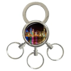 Light Water Cityscapes Night Multicolor Hong Kong Nightlights 3-Ring Key Chains