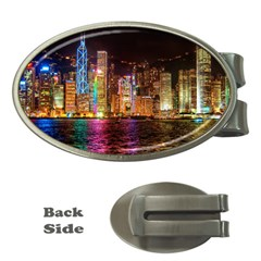 Light Water Cityscapes Night Multicolor Hong Kong Nightlights Money Clips (Oval)