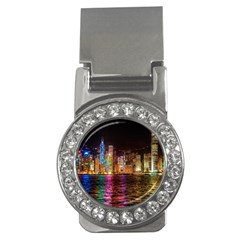 Light Water Cityscapes Night Multicolor Hong Kong Nightlights Money Clips (cz)