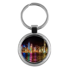 Light Water Cityscapes Night Multicolor Hong Kong Nightlights Key Chains (Round)