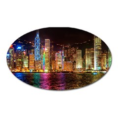 Light Water Cityscapes Night Multicolor Hong Kong Nightlights Oval Magnet