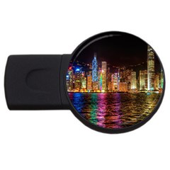 Light Water Cityscapes Night Multicolor Hong Kong Nightlights USB Flash Drive Round (1 GB)