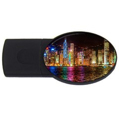 Light Water Cityscapes Night Multicolor Hong Kong Nightlights USB Flash Drive Oval (2 GB)