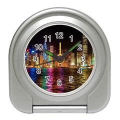 Light Water Cityscapes Night Multicolor Hong Kong Nightlights Travel Alarm Clocks