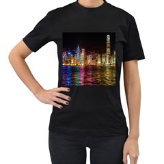 Light Water Cityscapes Night Multicolor Hong Kong Nightlights Women s T-Shirt (Black) (Two Sided)