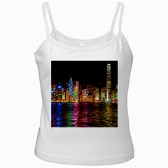 Light Water Cityscapes Night Multicolor Hong Kong Nightlights Ladies Camisoles