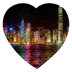 Light Water Cityscapes Night Multicolor Hong Kong Nightlights Jigsaw Puzzle (Heart)