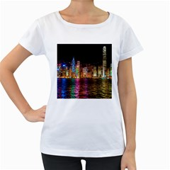 Light Water Cityscapes Night Multicolor Hong Kong Nightlights Women s Loose Fit T Shirt (white)