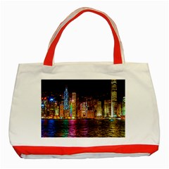 Light Water Cityscapes Night Multicolor Hong Kong Nightlights Classic Tote Bag (Red)