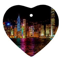 Light Water Cityscapes Night Multicolor Hong Kong Nightlights Heart Ornament (Two Sides)