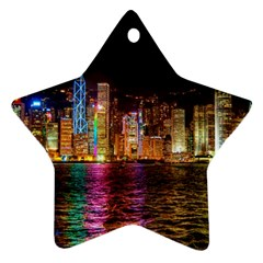 Light Water Cityscapes Night Multicolor Hong Kong Nightlights Star Ornament (two Sides)